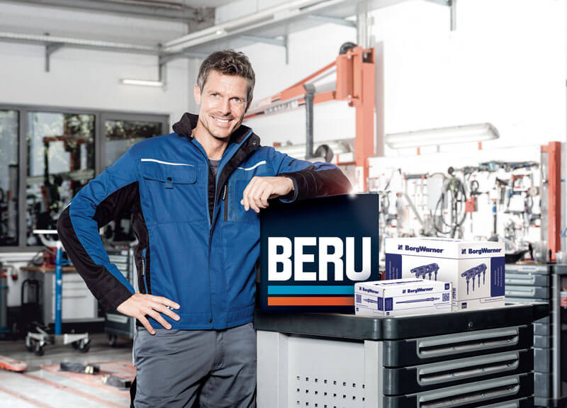 Workshop Guy with BERU products