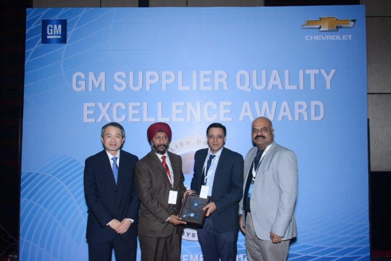 GM India Supplier Quality Excellence Award for Manesar, India