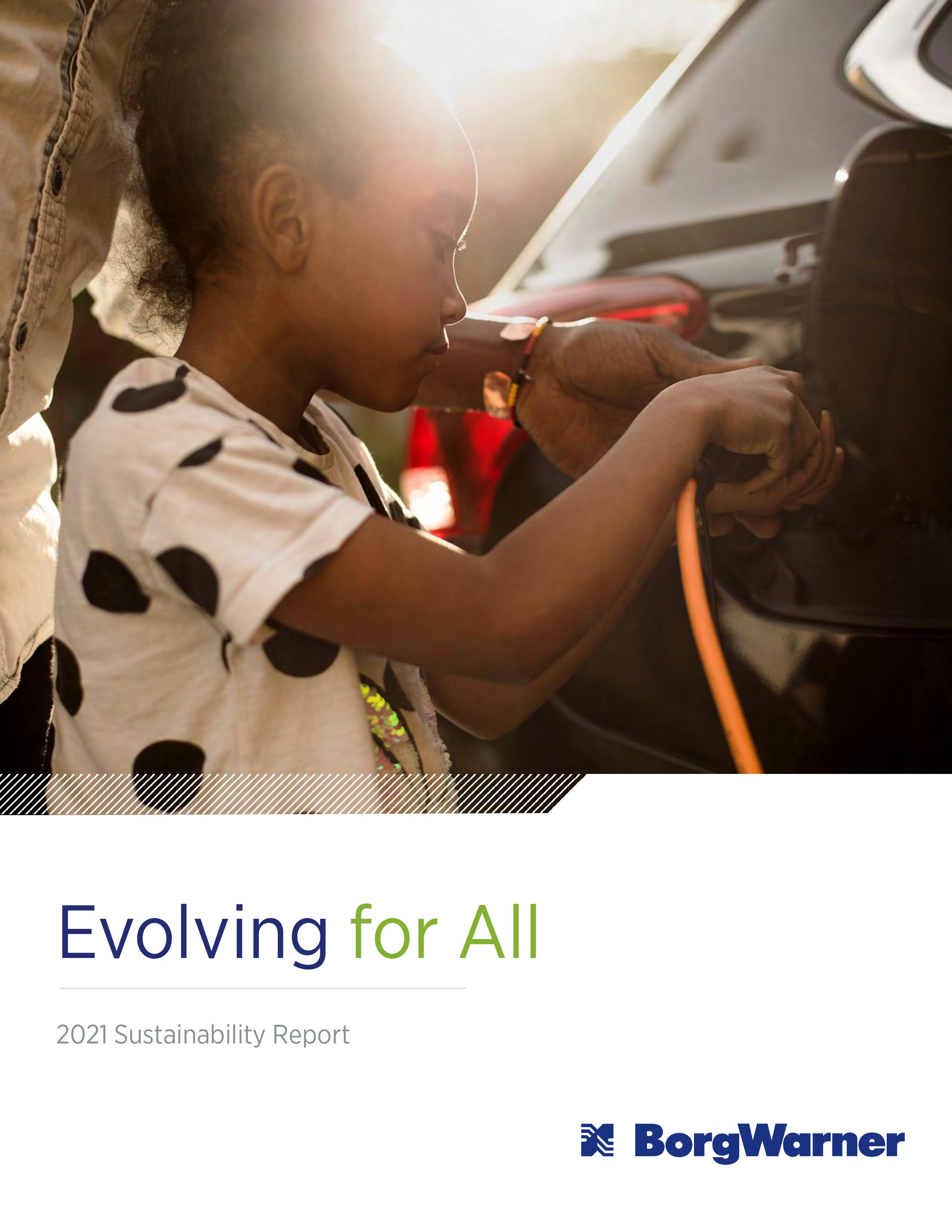 """Report cover with image of child charging a black electric vehicle and title """"Evolving for All"""""""