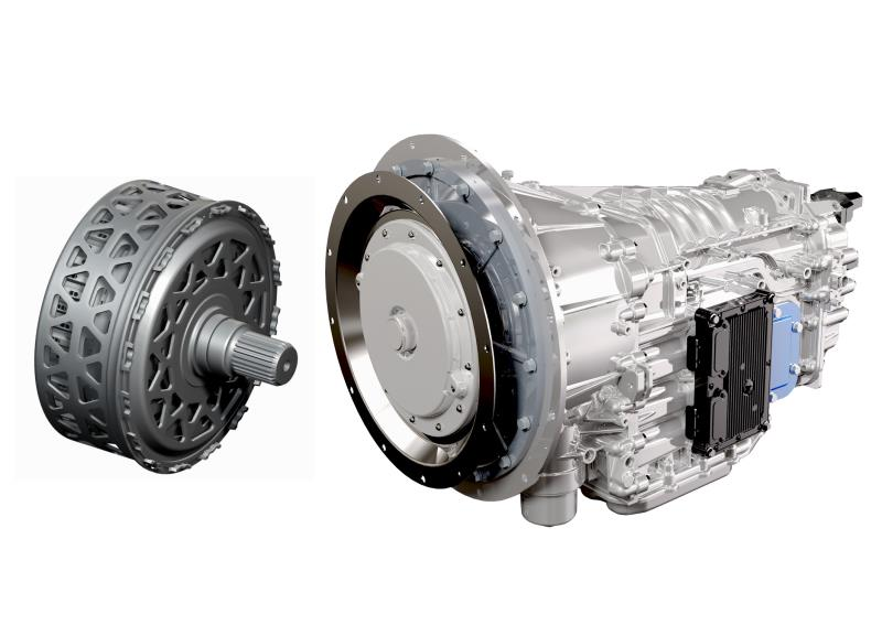 BorgWarner produces DualTronic™ clutch modules (left) for Eaton's new Procision™ 7-speed dual-clutch transmission (right), the first dual-clutch transmission for class 6 and 7 medium-duty trucks in North America.