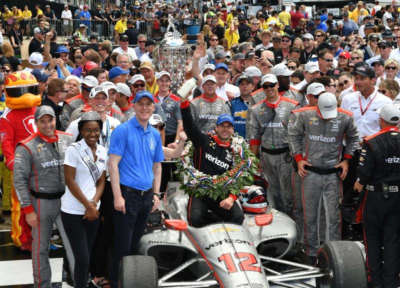 James Verrier, BorgWarner President and Chief Executive Officer and Will Power, winner of the 2018 Indianapolis 500 INDYCAR race
