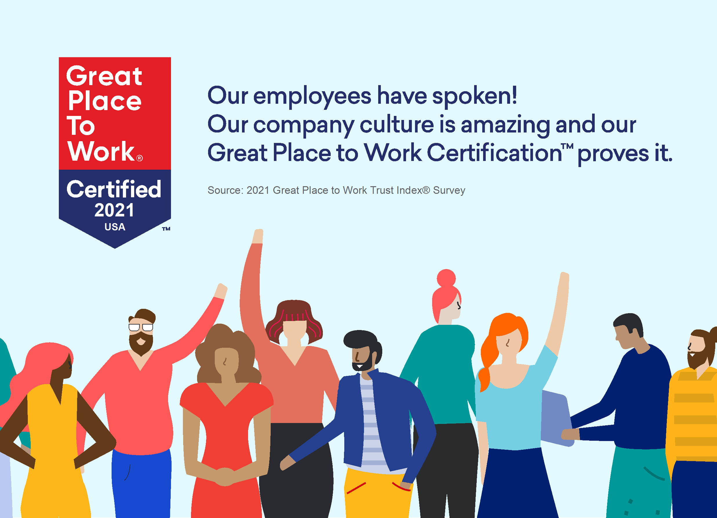 Graphic of Great Place To Work Certification seal along with line of characters celebrating